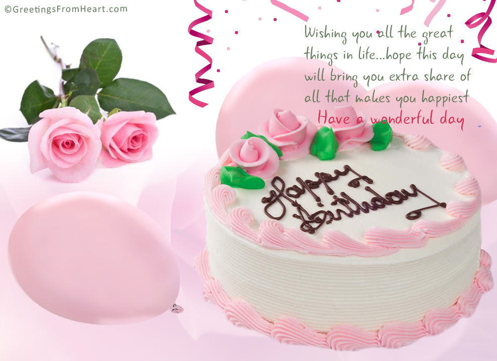 birthday greeting with cake and flowers - Happy Birthday Cards Flowers