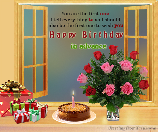 Birthday Wishes In Advance Greeting Cards
