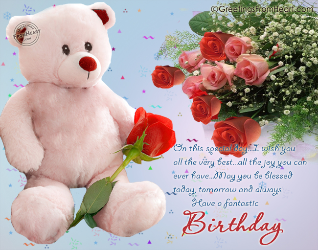 birthday greetings with cute teddy and beautiful rose flowers – Birthday Greetings with Roses