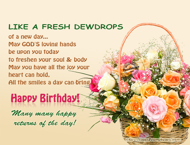 Birthday Greeting With Wish And Basket Of Beautiful Flowers