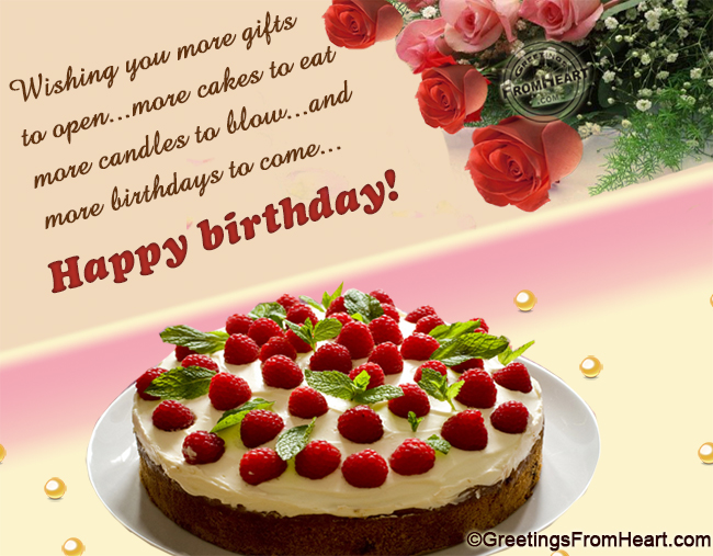 Birthday greeting with birthday wish cake and flowers – Birthday Wish Greeting Images