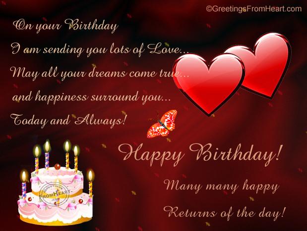 Happy Birthday Greeting Sending Lots Of Love On
