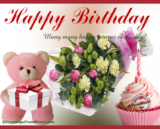 Happy Birthday Greeting With Bouquets Of Flowers And Cupcake