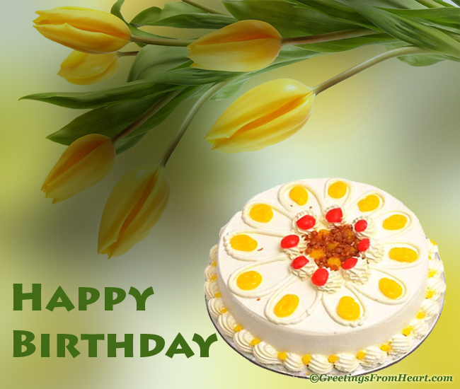 Happy Birthday greeting with cake and beautiful tulip flower